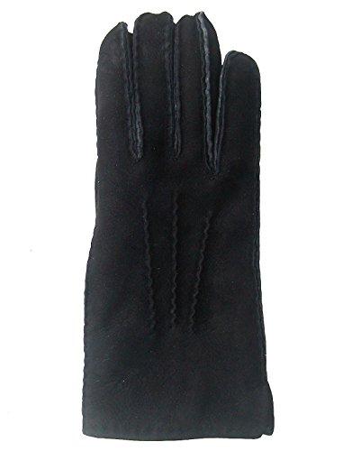 Chamier Lammfellprodukte Fingerhandschuhe Lammfell, Fellhandschuhe schwarz, Größe 10