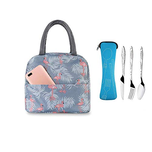 Lunch Bag and 3 Pieces Cutlery Stainless Steel (Knife, Fork, Spoon) with Storage Bag, Insulated Lunch Bag, Waterproof Tote Bag Portable Bento Bag Cooler/Thermal Pinic Lunch (Blue Flamingo)
