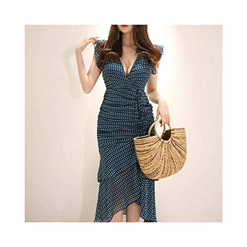Bademode Celebrity Temperament Deep V Kleid Plissee Wave Point Tasche Hip Fishtail Midi-Kleid Bikinis (Farbe : Bildfarbe, Size : M)