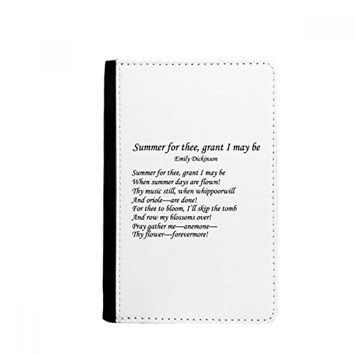 Poetry Dickinson Porta-passaporte Summer Of Thee Notecase Burse carteira porta-cartões