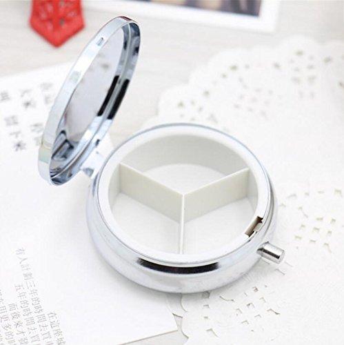 Kingken 1 Stück Tragbare Tablettenbox aus Metall, rund, praktisch, für Reisen, Medizin, Aufbewahrungsbox (Silber)