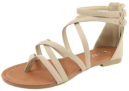 Anna Shoes Casey-2 Women's Strappy Buckle Accent Zip Heel Flat Sandal,Beige,8