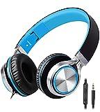 Auriculares estéreo Plegables Biensound HW50, configuración de Graves, Auriculares con micrófono para iPhone y Todos los teléfonos Inteligentes Android/PC/computadora portátil/Tableta Azul Negro