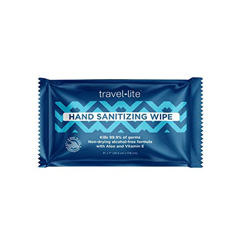 "Travel Lite Alcohol-Free Hand Sanitizing Wipes 200 Individually Wrapped Fresh Scented 8x7"" Towelettes with Antimicrobial Protection for Adults and Kids Perfect for Travel and on The Go"