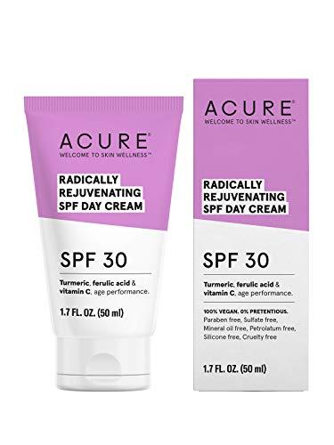 ACURE Radically Rejuvenating SPF 30 Day Cream | 100% Vegan | Provides Anti-Aging Support | Turmeric, Ferulic Acid & Vitamin C - Provides Sun Protection & Antioxidants | 1.7 Fl Oz
