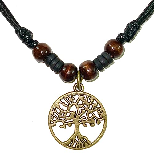 Celtic Tree of Life Pendant Necklace Wood Beaded with Adjustable Black Cord Mens Womens