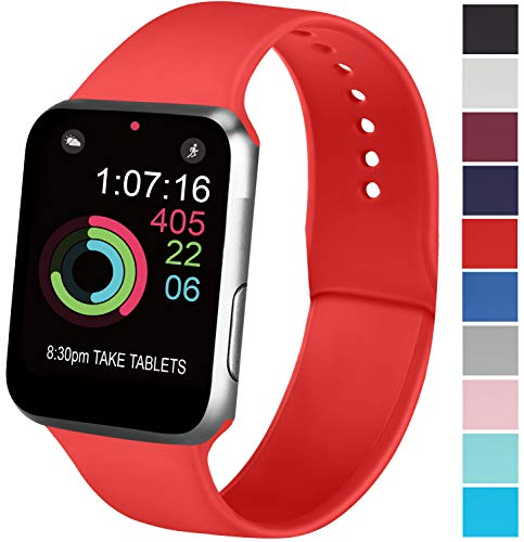 AK Cinturino Compatibile per Apple Watch 44mm 42mm 38mm 40mm, Cinturino Sport in Silicone Cinturino Uomo e Donna per iWatch Serie 5 4 3 2 1 (42/44mm S/M, 07 Orange Red)