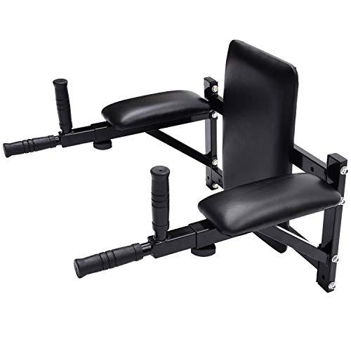 HOMCOM Barras de Dominadas en Pared Barra de Musculación Multi Ejercicios Longitud Regulable 53 - 63 cm