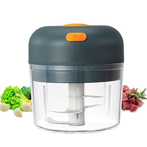 KAMEUN Elektrisch Zerkleinerer Küche, 280ML Mini Food Processor, Küchenmaschine, Knoblauchhacker, USB Zwiebelschneider Multizerkleinerer mit 3 Scharfen Klingen für Fleisch, Gemüse, Babynahrung