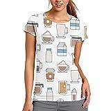 Utensill - Camiseta de manga corta para mujer, diseño casual, poliéster, Blanco, XX-Large