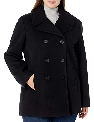 Calvin Klein Plus Sized Womens Double Breasted Peacoat, BLK, 1X