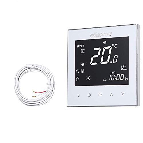 KKmoon WiFi Thermostat, digitaler raumthermostat für Fußbodenheizung und Luftfühler, mit WiFi-Verbindung und Sprachsteuerung, AC 95-240V 16A Touchscreen LCD Display