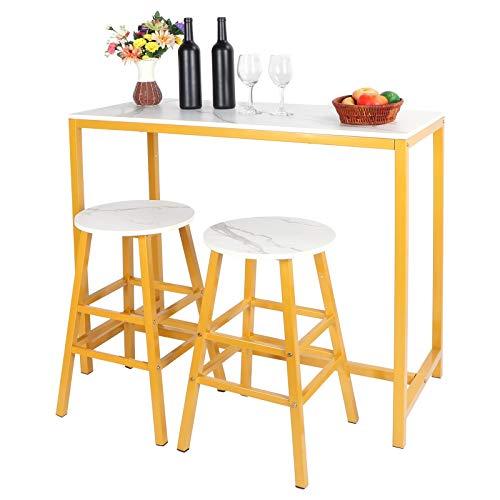 Mesa de bar con 2 taburetes, juego de sillas de comedor con mesa baja, diseño industrial, MDF + metal, para cocina, salón, habitación de fiesta