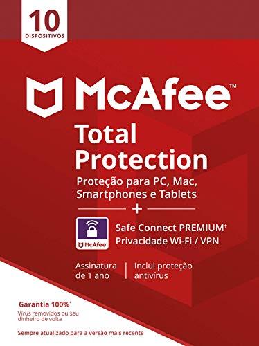 McAfee Total Protection 10 + VPN - Antivírus - Programa premiado de proteção contra ameaças digitais multi dispositivo - 10dispositivos - Cartão