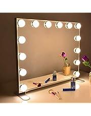 Wonstart 女優ミラー 化粧鏡 ハリウッドスタイル 14個LED電球付き 暖色・寒色 2色ライトモード 明るさ調節可能 女優ライト 卓上 LEDミラー ドレッサー/化粧台適用