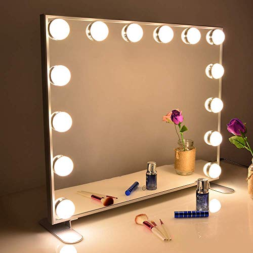 Wonstart 女優ミラー 化粧鏡 ハリウッドスタイル 14個LED電球付き 暖色・寒色 2色ライトモード 明るさ調節...