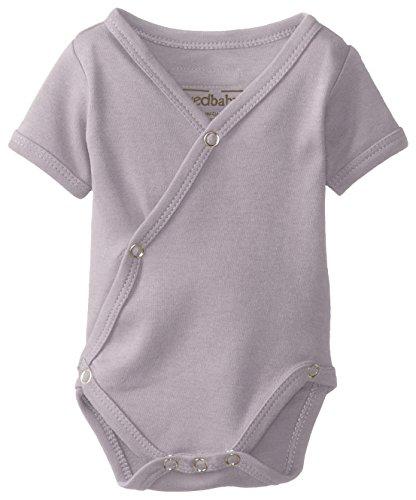 L'ovedbaby Unisex-Baby Organic Cotton Kimono Short Sleeve Bodysuit, Lavender, 0/3 Months