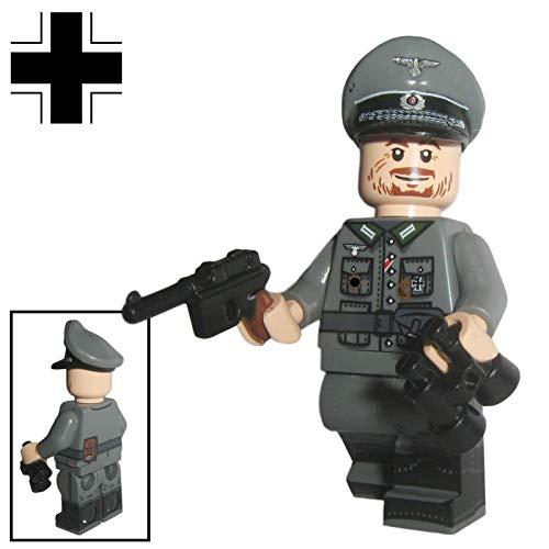 Custom Brick Design - WW2 Serie - Deutscher Offizier V.2 Figur - modifizierte Minifigur des bekannten Klemmbausteinherstellers & somit voll kompatibel zu Lego