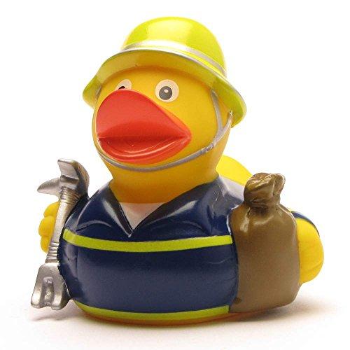 Duckshop I Badeente THW - Technisches Hilfswerk I Quietscheentchen I Quietscheente I L: 8 cm I inkl. Badeenten-Schlüsselanhänger im Set