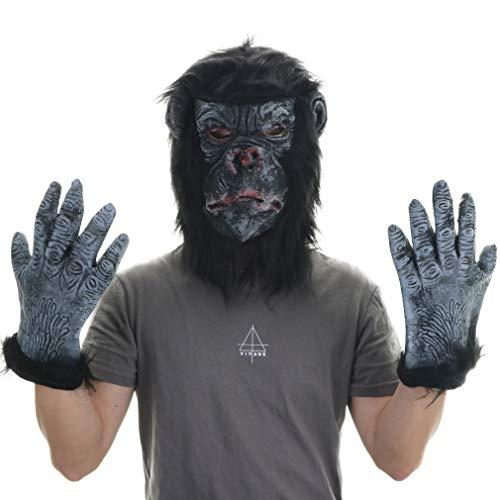 Latex Gorilla Mask with Gloves-Halloween Party Cosplay Costume Props Gorilla Head Masquerade Masks (Gorilla) Black