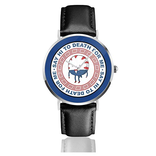 Unisex Business Casual Adventure Time Peppermint Butler Say Hi to Death Logo Uhren Quarz Leder Uhr mit schwarzem Lederband für Männer und Frauen Young Collection Geschenk