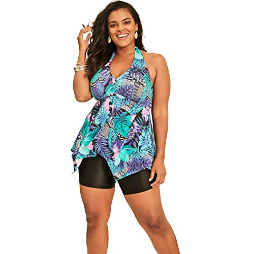 Swimsuits For All Women's Plus Size Flared Halter Tankini Top - 32, Blue Tropical Floral