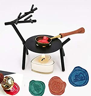 MNYR Elegant Portable Wax Warmer Wooden Handle Wax Melting Spoon Set Wax Sticks Beads Melting Furnace Tool Stove Pot for Wax Seal Stamp Wedding Invitations Lightening Candle Kit
