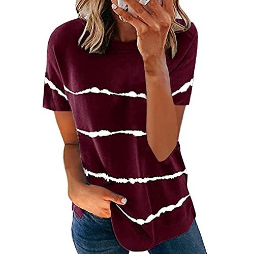 VIQNJ La Moda Femenina de Primavera y Verano de Moda Femenina con Tinte de Corbata impresión a Rayas Camiseta Suelta de Manga Corta más tamaño-Vino Red_XXXL