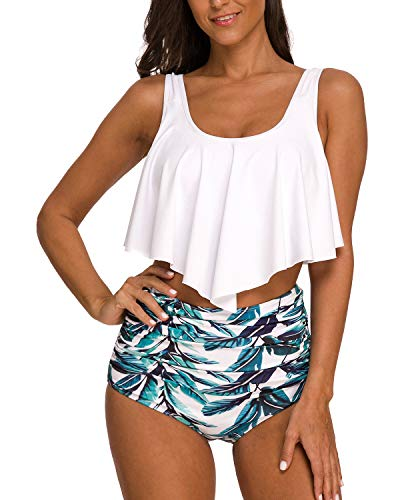 Coskaka Women's High Neck Two Piece Bathing Suits Top Ruffled High Waist Swimsuit Tankini Bikini Sets White XS