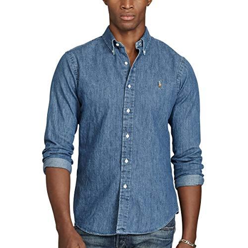 Polo Ralph Lauren Slim FIT 3BD PPC SPT Camisa Casual, Azul (Dark Wash A4809), M para Hombre