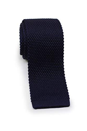 Blackbird Schmale Strickkrawatte, verschiedene Farben, 100% Seide, 5 cm Skinny / Slim Tie, Handarbeit (Dunkelblau)