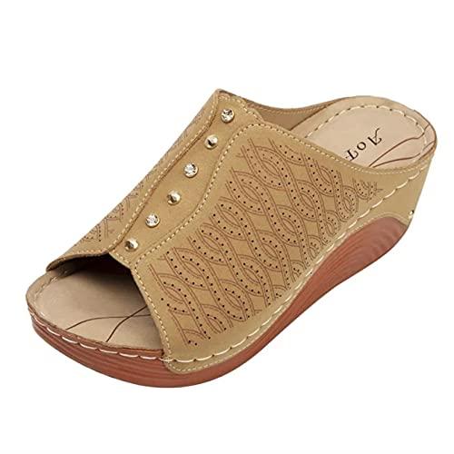 Zapatillas Casa Chanclas Sandalias Zapatillas Casuales, Sandalias De Mujer, Suela Gruesa De Talla Grande Para Mujer, Sandalias Cómodas Para La Playa Al Aire Libre, Zapatillas De Cuña Sólidas Para