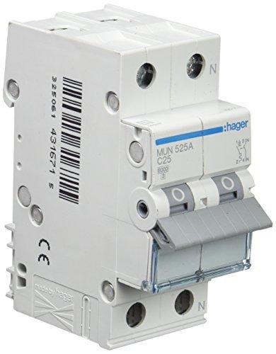 Hager MUN525A Interruptor Automático Magnetotérmico Serie MU, 1P+N, 25A, curva C, 6KA
