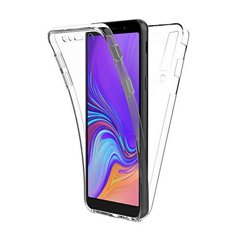 COPHONE® kompatibel Samsung Galaxy A7 2018 Hülle Silikon 360 Grad transparent. Total transparent, weiche Vorderseite + harte Rückseite. Stoßfeste 360-Grad-Touch-Handyhülle für Galaxy A7 2018