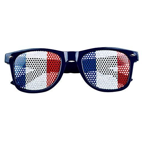 Boland 62028 - Partybrille Frankreich, 1 Stück, Einheitsgröße, schwarzes Gestell aus Kunststoff, Gläser mit Löchern in blau-weiß-rot, französische Nationalfarben, Flagge, Fußball, Fan, Puplic Viewing