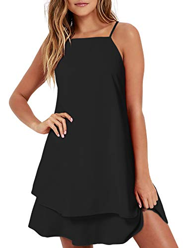 ZANZEA Womens Chiffon Dress Sexy Summer Beach Halter Short Dress Floral Print Casual Spaghetti Strap Mini Sundress Black S