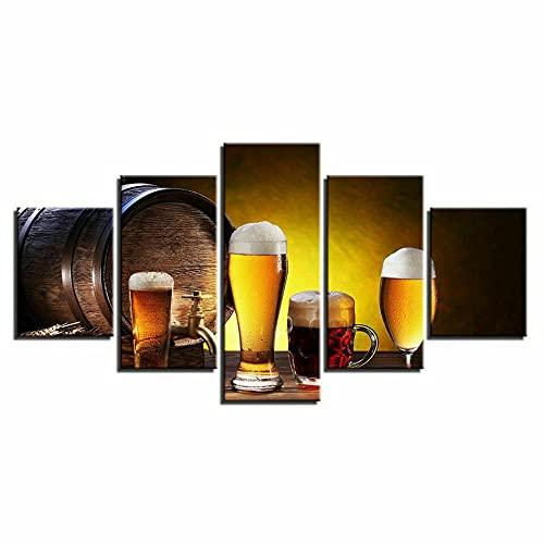 JUHAO Dos Tamaños-5 Pinturas En Lienzo, Obras De Arte Estirables Y Enmarcadas-Dispensador De Cerveza De Barril De Roble Copa De Vino Bebida-Navidad, Día del Padre, Día del Niño, Regalos