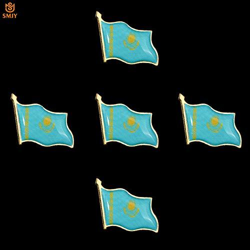 SFDGBTH 5pcs / lote Creativo DIY Pin Broche Kazajstán Ondeando la Bandera Nacional Broche de Solapa Hebilla de Seguridad Banner Pin Insignia Joyería