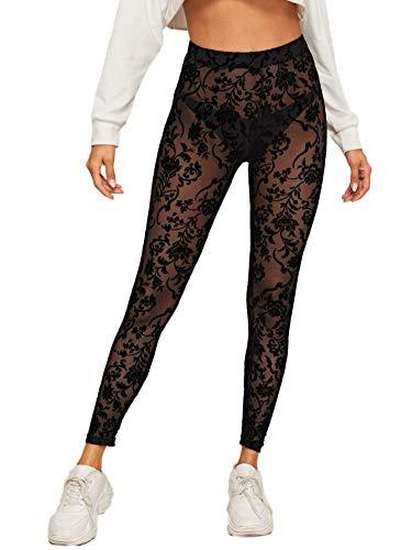 SweatyRocks Women's Floral Sheer Mesh Leggings Stretchy High Waist Pants Black S