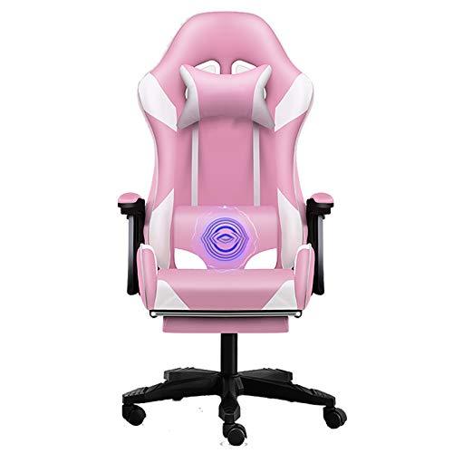 UELEGANS Gaming Stuhl, Racing Gamer Stuhl Bürostuhl Stoff, Ergonomischer Computerstuhl Mit Fußstütze, Drehstuhl Mit Hoher Rückenlehne,Rosa