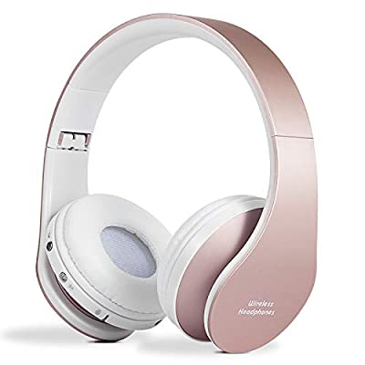 Bluetooth Headphones Wireless, yusonic Foldable Wireless and Wired Stereo Headset Built in Mic for Cell Phones, TV, PC. (Rosegold) by Yusonic