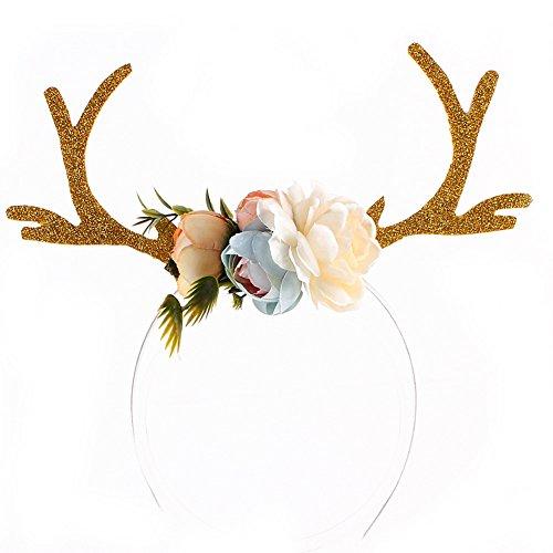 TININNA Enfants Parti Bandeaux Mignon Cerf Antlers Oreilles Fleur Bandeau Enfants Partie Cheveux Hoop Fawn Corne Headgear Headwrap Headband Cosplay Costume Kaki