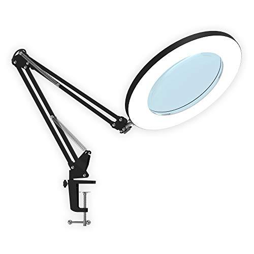 LED de lupa,YOUKOYI Lámpara LED de Aumento de 5X, Lámpara de Escritorio, Lámparas de Lupa Iluminadas 3 Modos de Color Para Banco de Lectura o Salón de Belleza(Negro)