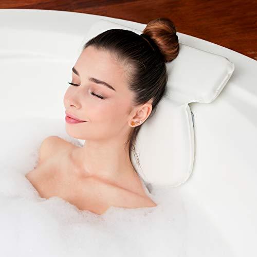 Badekissen für die Badewanne | Badewannenkissen mit Saugnäpfen, rutschfest, stützt Nacken, Rücken, Schultern, Kopf | Wasserdichte Wannenkissen für Jacuzzi, Whirlpool, Hot Tub, Badewanne und Spa