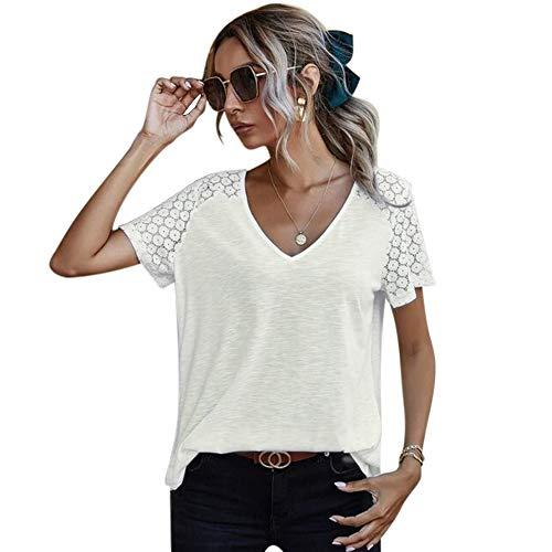 Camisa de Manga Corta de Crochet Floral con Cuello en V de Mujer Ahueca hacia Fuera Las Blusas Sueltas de túnica Informal (Blanco, S)