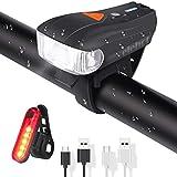 ELEHOT Fahrradbeleuchtung Set USB Automatische Lichteinstellung IPX6 Wasserdicht Fahrradlichte Set