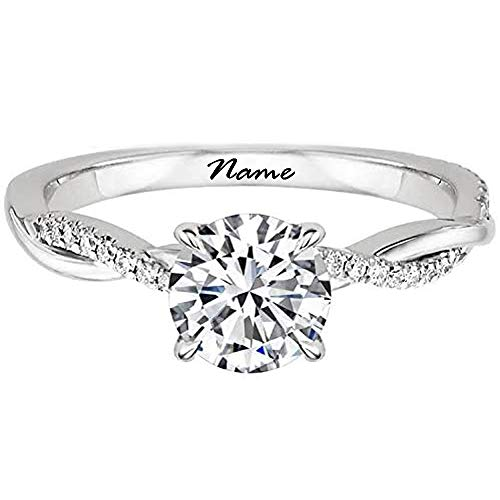 SISGEM Engagement Ring for Women, 1 ct Moissanite Twisting Infinity Pave Solitaire Ring with Platinum Plated for Her, S925 Silver White Gold Jewellery for Ladies Engagement Wedding (Size I-S)