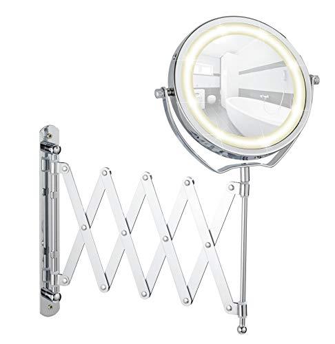 Wenko - Miroir cosmétique mural Télescope Brolo, réglable en hauteur, orientable, à DEL, 300%, chrome, miroir de Ø 15 cm, 18,5 x 38,5 x 45 cm