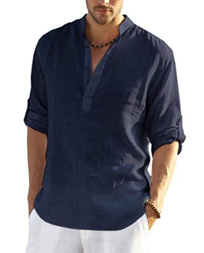 COOFANDY Men's Cotton Linen Henley Shirt Long Sleeve Hippie Casual Beach T Shirts (XL, Navy Blue000)
