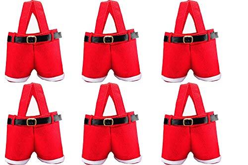 HOSL 6 Pack Basket Christmas Candy Bags Bags Portable Santa Apple Gift Bag Wedding Candy Tote Bag Christmas Santa Pants Gift Romper Wine Bag Box for Party Home Decor